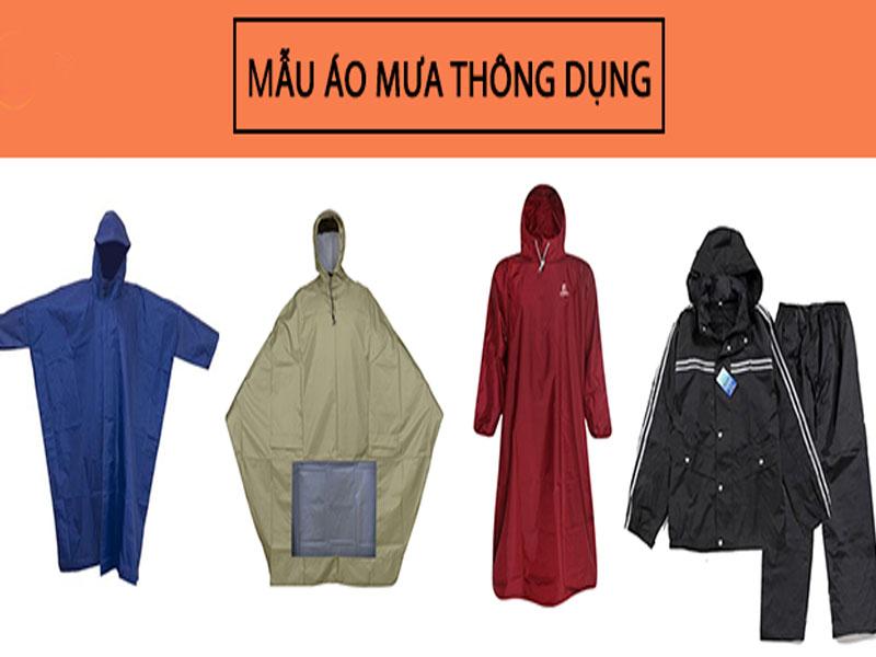 Một số mẫu áo mưa thông dụng